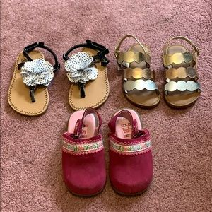 Toddler girl sandal and clog lot, size 5 and 6